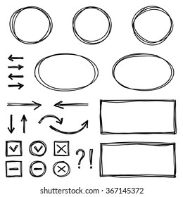 Set of hand drawn elements for selecting text.