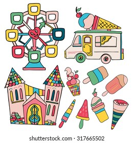 Set of hand drawn elements; wheel, ice-cream truck, kinds of ice-cream, castle.