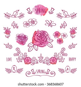 The set of hand drawn elements for your design on the pink watercolor background. Elements for Valentine's Day, mother's day, birthday, wedding, easter. Doodles, sketch. Vector.