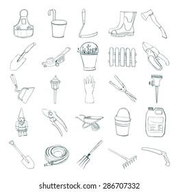 Set of hand drawn equipment for gardening.