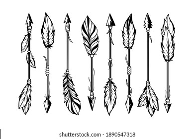 Set of hand drawn ethnic arrows boho style