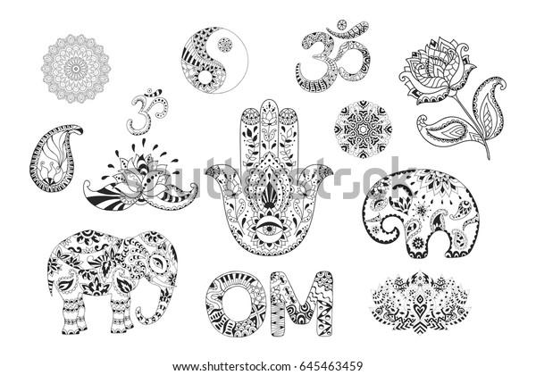 Set Hand Drawn Ethnic Symbols Mandalas Stock Vector Royalty Free