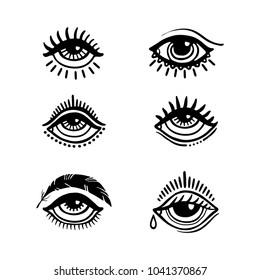 Set of hand drawn eyes. Doodle style. Tattoo design element.
