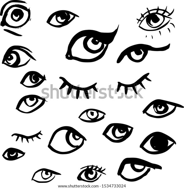 Set of hand drawn eyes, sketch, doodle of eyes