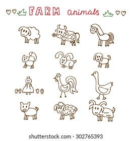 Set of hand drawn farm animals. Sheep, cow, horse, pig, goose, duck, rooster, hen with chicks, rabbit, dog, cat and goat. Vector illustration