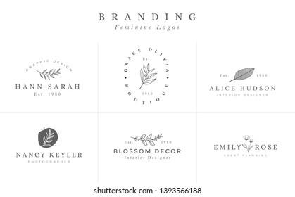 Set of Hand drawn Feminine Vector Signs or Logo Templates - Vector