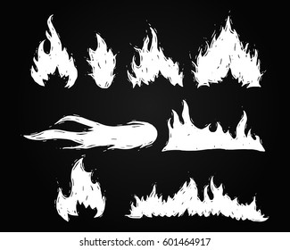 Set of hand drawn fire and fireball vector illustration