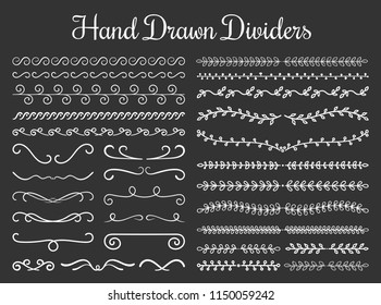 Set of hand drawn floral and calligraphic dividers, vector eps10 illustration