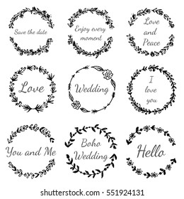 Set of hand drawn floral wreath. Tribal, boho, ethnic design elements for invitations, greeting cards, quotes, blogs, posters. Vector vintage illustration