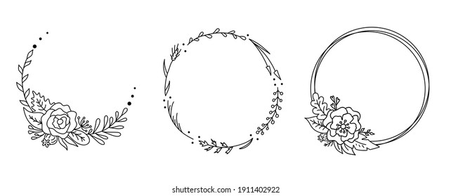 Set of hand drawn flower wreath. Vector floral frame in doodle style. Wedding monogram flourish frame isolated on white background. Outline border with wild flowers, meadow herbs and branches.