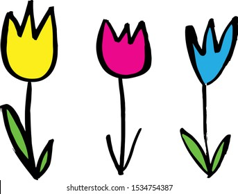 Set of hand drawn flowers, colorful, ink drawing