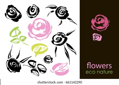 Set of hand drawn flowers, green leaf, sketches and doodles of pink flowers and plants, flowers vector collection. Design elements with ink and brush. Hand drawing with paint brush