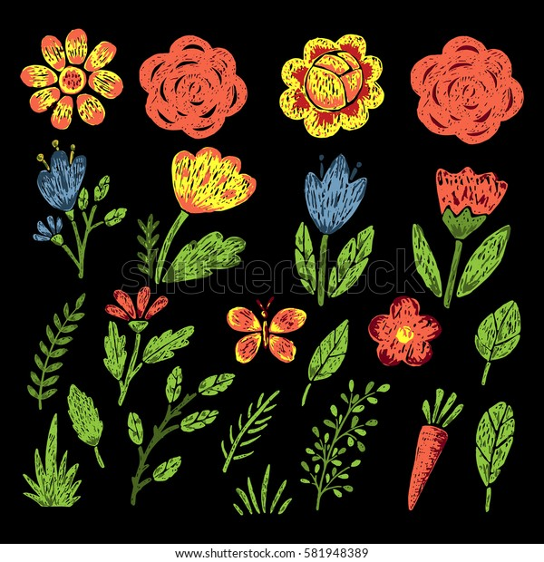 Set of hand drawn flowers and leaves.Vector illustration.