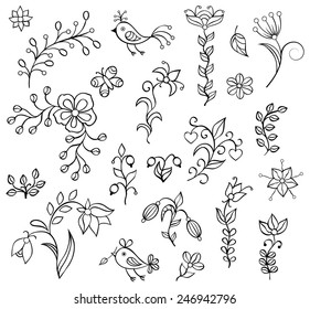 Set ���®f hand drawn flowers on white background.Elements for your design