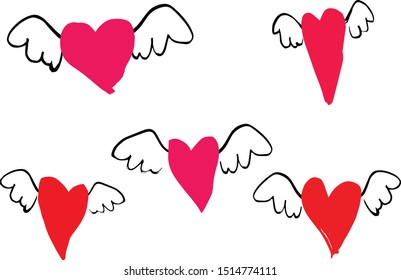 Set of hand drawn flying hearts, Valentine set, Love