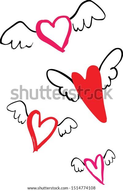 Set of hand drawn flying hearts, Valentine set, Love