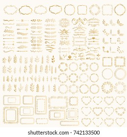 Set of hand drawn foil design elements. Golden wreaths, frames, hearts, borders, dividers, corners, glitter vintage ornate motifs.