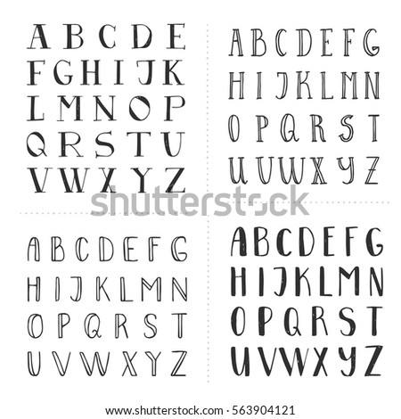 Set of hand drawn fonts. Script letters for design. Vector. Isolated.