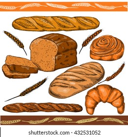Set of hand drawn food: bread, french baguette, croissant and bun. Vector illustration, isolated on white.