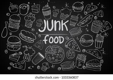 Set of hand drawn food isolated on black background, doodle set of fast food. Vector illustration
