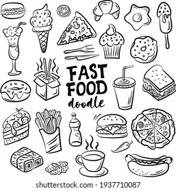 Set of hand drawn food isolated on white background, doodle set of fast food. Vector illustration