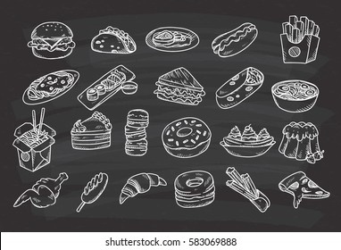 Set of hand drawn food on chalkboard background