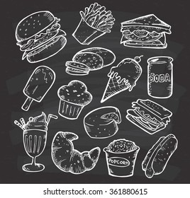Set of hand drawn food and snack on chalkboard background