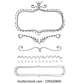 Set of hand drawn frame and dividers. Doodle vector design elements isolated on white background.