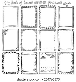 Set of hand drawn frames and borders