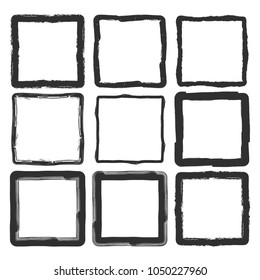 Set of hand drawn frames and doodle borders. Vector. Isolated.