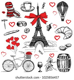 Set of hand drawn French icons, Paris sketch illustration
