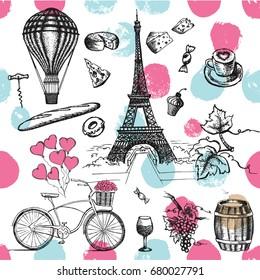 Фотообои Set of hand drawn French icons, Paris sketch illustration