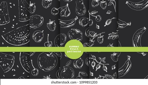 Set of hand drawn fruit and berry patterns in black and white. Ink sketch apple, orange, plum, apricot, kiwi, banana, cherry, raspberry, strawberry. For food background design.