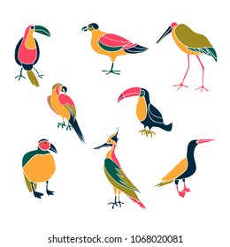Set of hand drawn funny birds, Colorful vector illustration. Isolated on white.