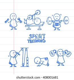 Set of hand drawn funny people exercising for health and fitness. Vector Illustration on striped paper.