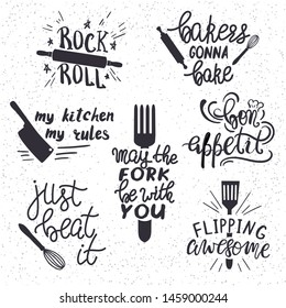 Set of hand drawn funny sayings for kitchen or restaurant poster, card or other typography