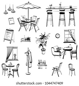 Set of hand drawn furniture and interior detail cafe, sketch, isolated objects