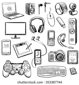 Set of hand drawn GADGET icons with notebook, phone, game pad, photo camera, tablet, pc, flash card, headphones, watches, computer, laptop, monitor, and other