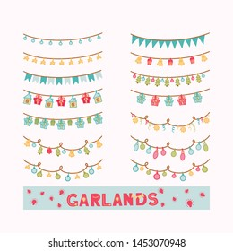Set of hand drawn garlands. Christmas lights for decoration on beige background. Stars, Christmas trees, bells, gifts and bulbs. Vector illustration. For advertisement, posters, scrapbook and prints.