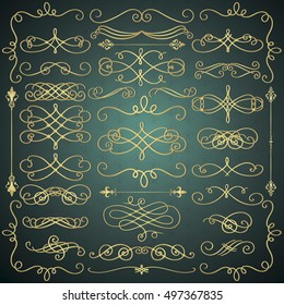 Set of Hand Drawn Golden Luxury Royal Doodle Design Elements. Decorative Swirls, Scrolls, Text Frames, Dividers. Vintage Vector Illustration.