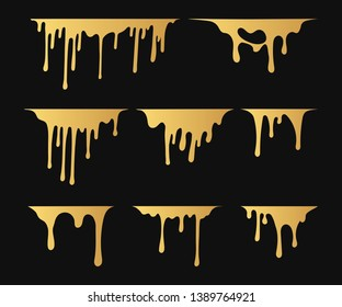 Set of hand drawn golden paint splatter. Drip splat background. Ink drops. Vector isolated grunge stain.