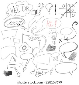 Set of hand drawn graphic signs. Pencil technique. Arrows, underlines, circles, scribble, various elements doodle. Vector illustration