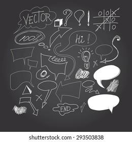 Set of hand drawn graphic signs. Pencil technique. Arrows, underlines, circles, scribble, various elements doodle