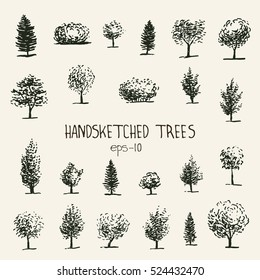 Set of hand drawn graphic trees