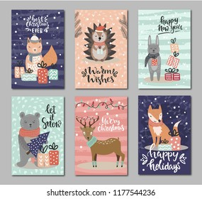 Set of hand drawn greeting cards with woodland animals and christmas and new year greeting words