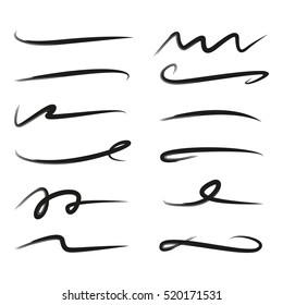 set of hand drawn grunge brush, scribble lines