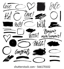 Set of hand drawn grunge design elements, frames, speech bubbles, boxes and brush strokes.