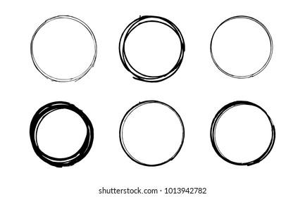 Set of hand drawn grunge scribble circles. Vector illustration.