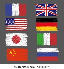 Set of hand drawn grunge world flags. Vector illustration.