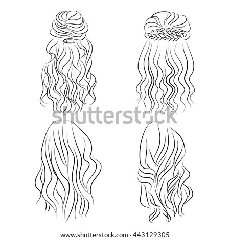 set hand drawn hair styling stock vector royalty free 443129305